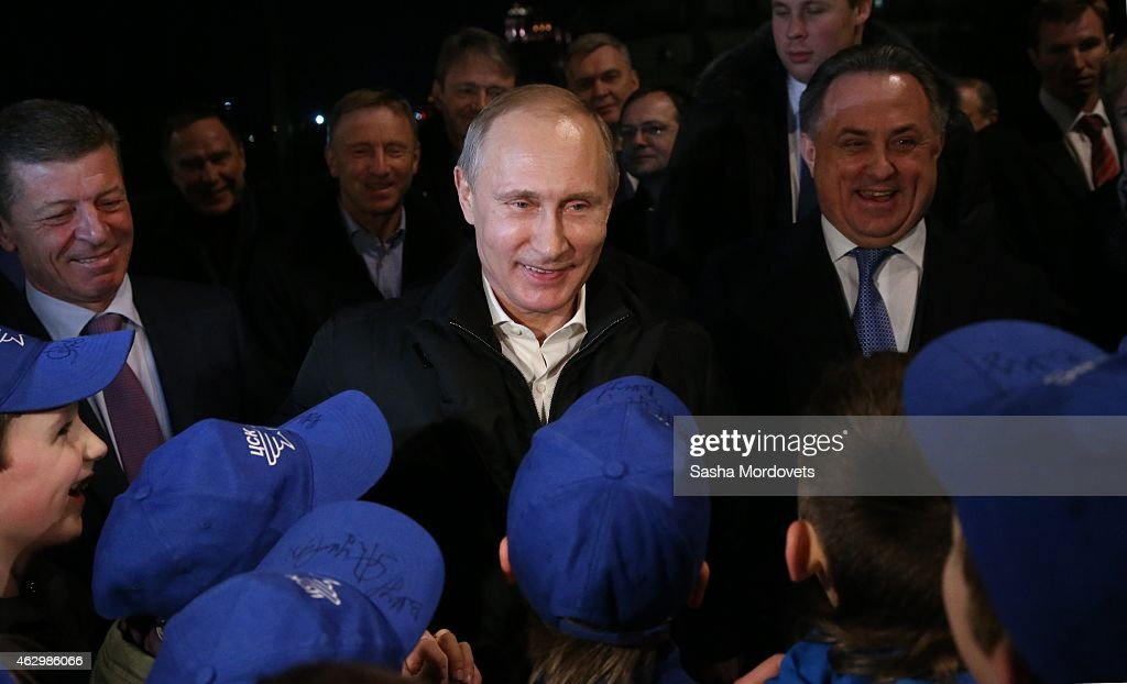 Russian President <a gi-track='captionPersonalityLinkClicked' href=/galleries/search?phrase=Vladimir+Putin&family=editorial&specificpeople=154896 ng-click='$event.stopPropagation()'>Vladimir Putin</a> (C), Sport Minister <a gi-track='captionPersonalityLinkClicked' href=/galleries/search?phrase=Vitaly+Mutko&family=editorial&specificpeople=687552 ng-click='$event.stopPropagation()'>Vitaly Mutko</a> (R) and Deputy Prime Minister Dmitry Kozak (L) visit a sport complex complex February 8, 2015 in Sochi, Russia. Putin is on a weekend trip to Sochi.