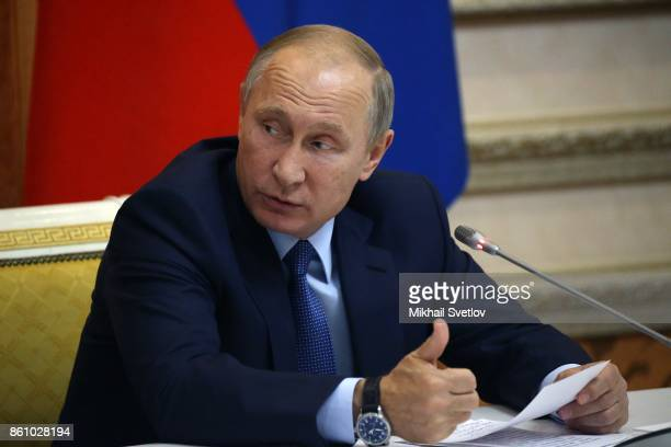 Russian President Vladimir Putin talks during a meeting on agricultural development in Voronezh Russia October 2017 Vladimir Putin is having a oneday...