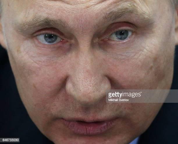 Russian President Vladimir Putin talks during a meeting on sport development in the region on March 1 2017 Krasnoyarsk Russia Putin is on a oneday...