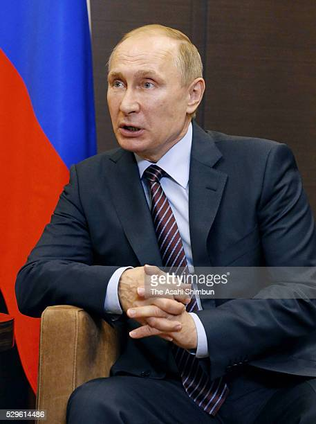 Russian President Vladimir Putin talks during his meeting with Japanse Prime Minister Shinzo Abe on May 6 2016 in Sochi Russia Abe and Putin agreed...