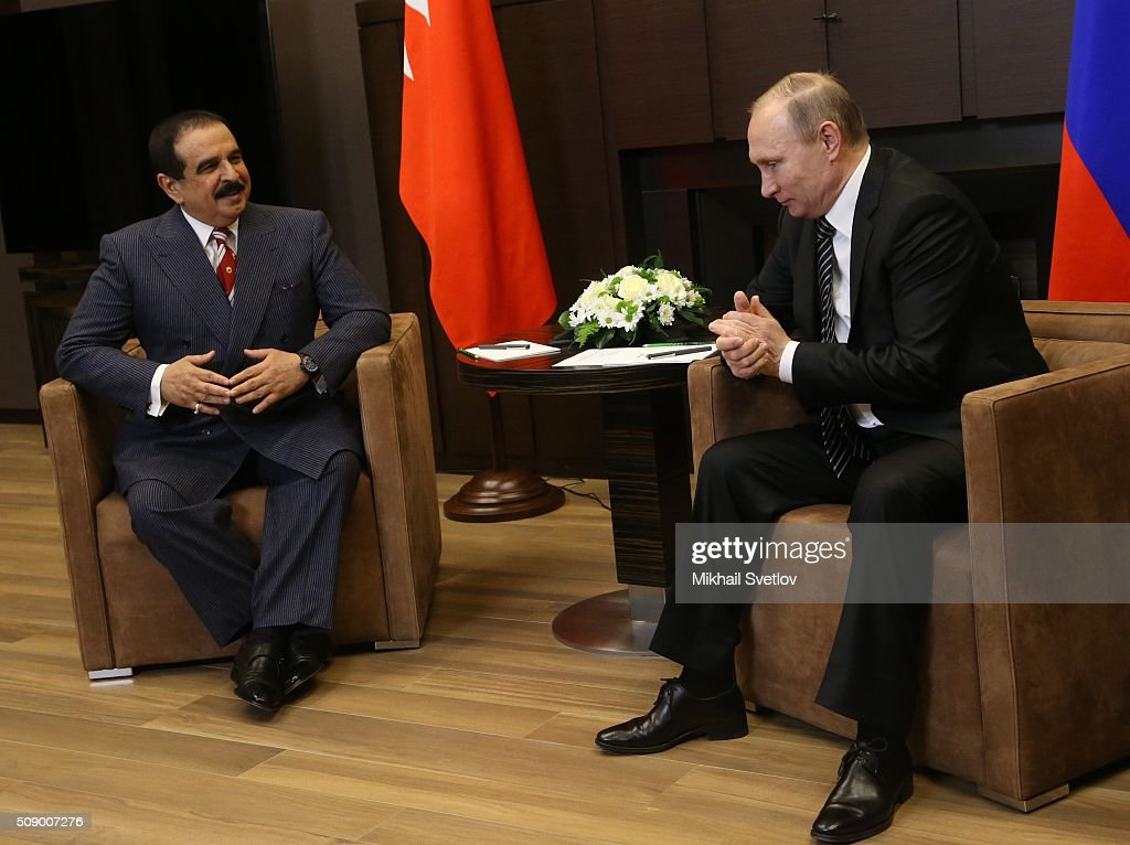 Russian President Vladimir Putin (R) talks to King of Bahrain Hamad bin Isa bin Salman Al Khalifa (L) in Bicharov Ruchey State Residence in Sochi, Russia, on February, 8, 2016. Bahrain's King is having a one-day visit to Black Sea resort of Sochi.
