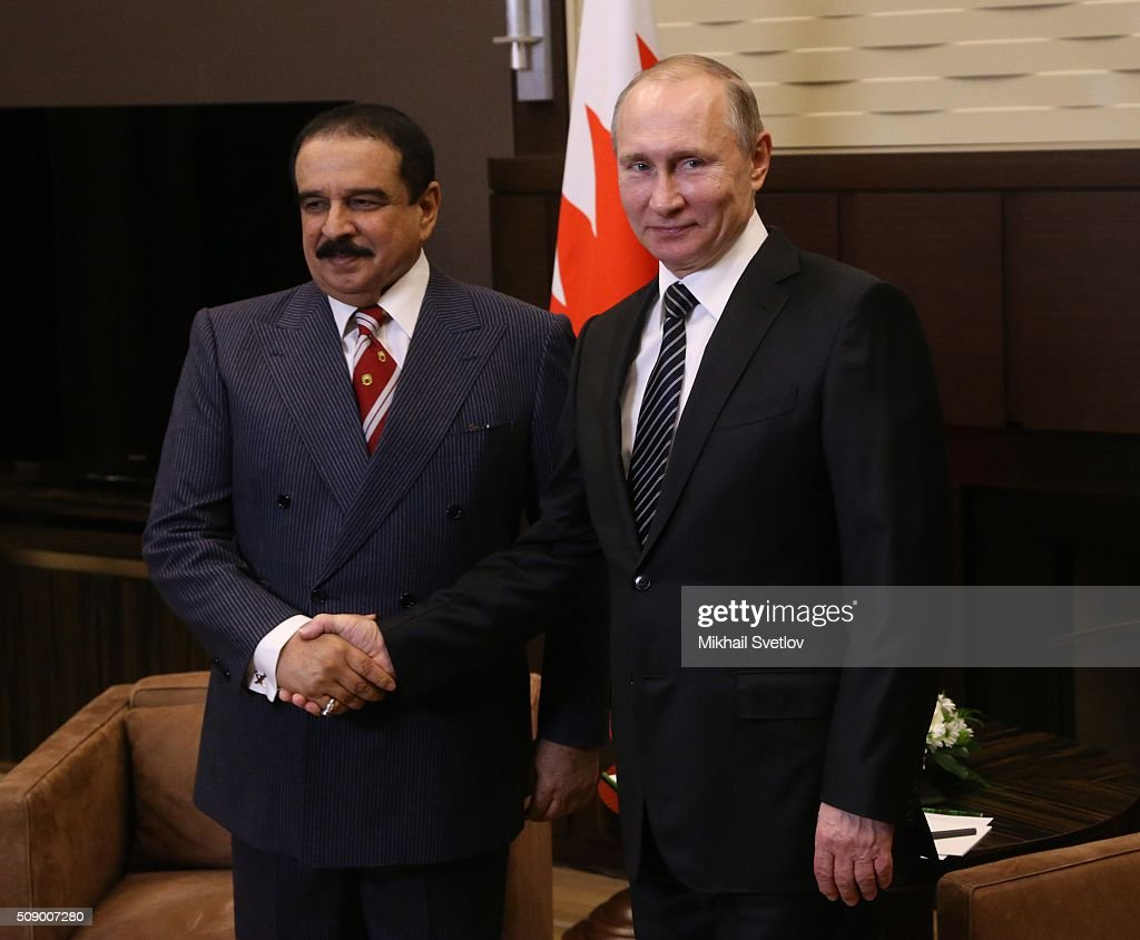 Russian President Vladimir Putin (L) talks to King of Bahrain Hamad bin Isa bin Salman Al Khalifa in Bicharov Ruchey State Residence in Sochi, Russia, on February, 8, 2016. Bahrain's King is having a one-day visit to Black Sea resort of Sochi.