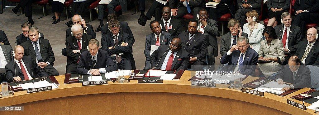 Russian President Vladimir Putin United Kingdom Prime Minster Tony Blair President Benjamin William Mkapa of Tanzania and US President George W Bush...