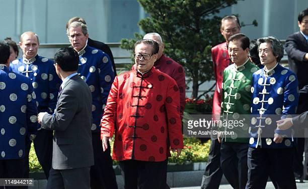 Russian President Vladimir Putin US President George W Bush Chinese President Jiang Zemin South Korea President Kim DaeJung and Japanese Prime...