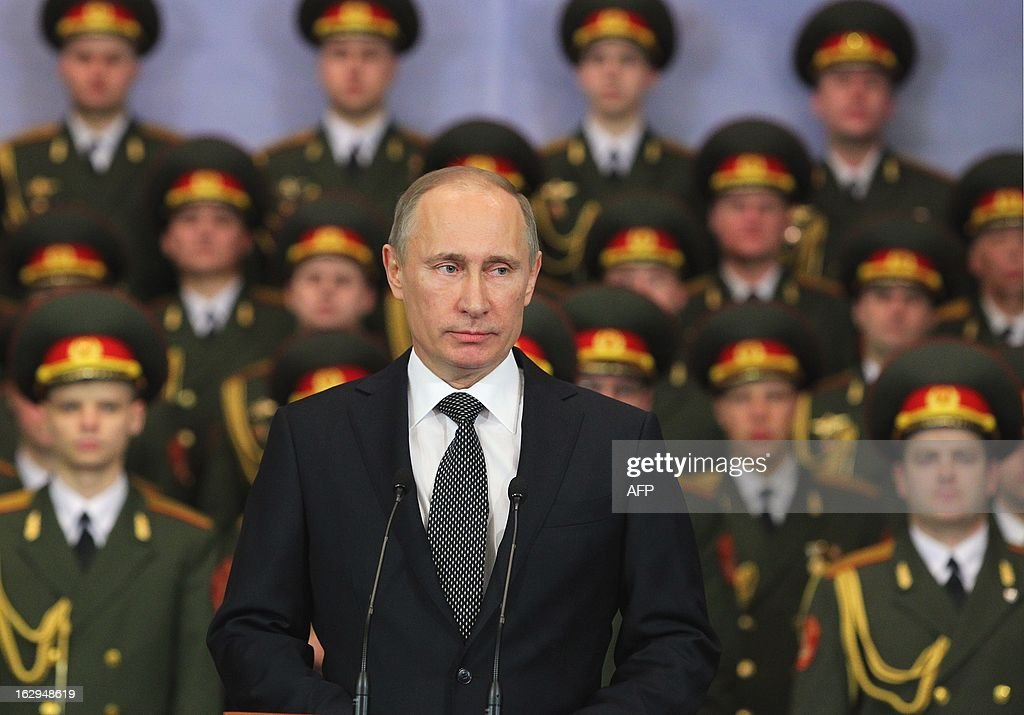 Russian President Vladimir Putin visits the 104th Guard Air Assault Regiment of the 76th Guard Air Assault Division in Pskov on March 1, 2013.