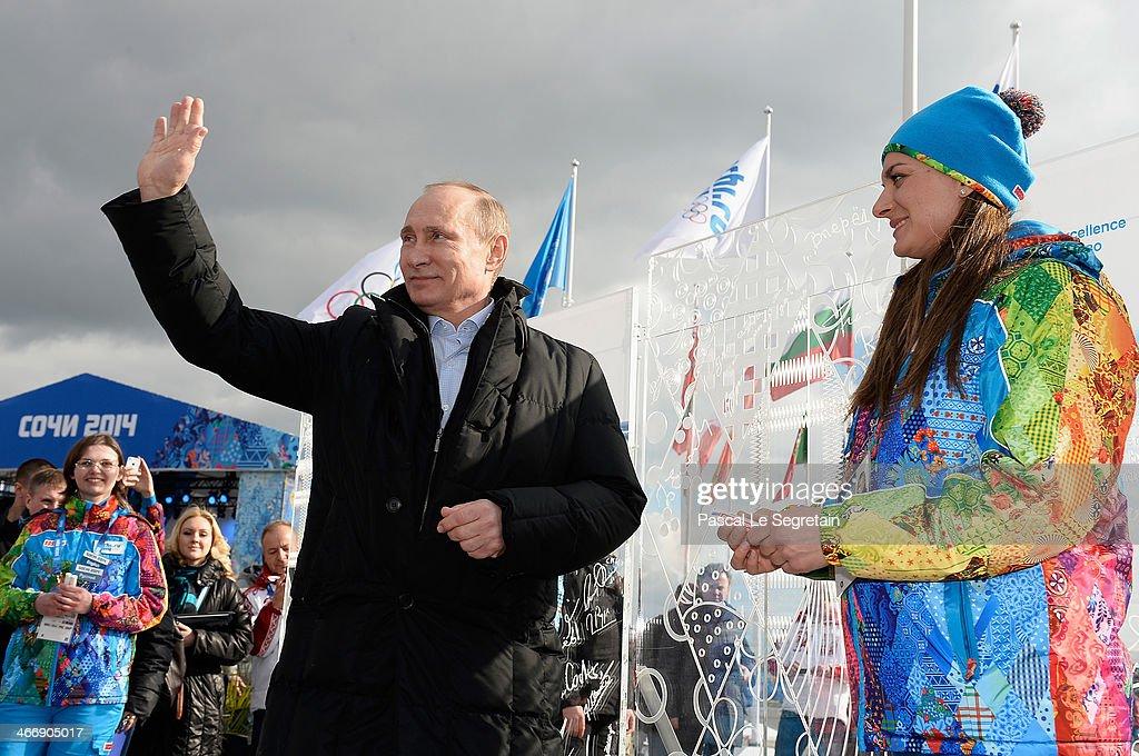 Russian President Vladimir Putin visits the Coastal Cluster Olympic Village ahead of the Sochi 2014 Winter Olympics on February 5 2014 in Sochi Russia