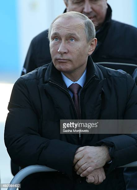 Russian President Vladimir Putin visits the construction site of the Vostochny Cosmodrome a Russian spaceport currently under construction on the...