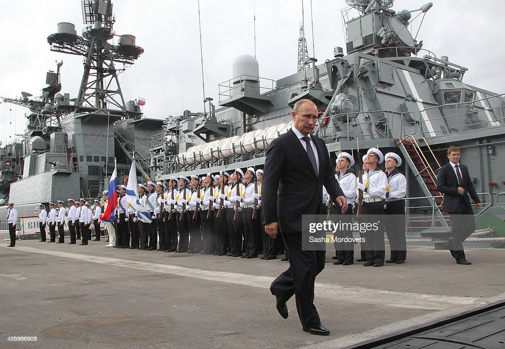 Russian President Vladimir Putin visits the destroyer ViceAdmiral Kulakov at the Naval Base of Black Sea Fleet on September 23 2014 in Novorossiysk...