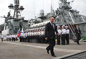 Russian President Vladimir Putin visits the destroyer ViceAdmiral Kulakov at the Naval Base of Black Sea Fleet on September 23 2014 in Novorossiysk...