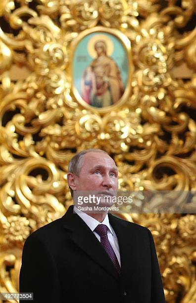 Russian President Vladimir Putin visits the Dormition Cathedral on October 15 2015 in Astana Kazakhstan Russian President Vladimir Putin said US...