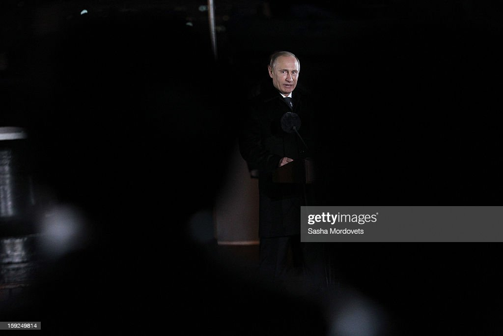 Russian President Vladimir Putin visits the heavy nuclear-powered missile cruiser Pyotr Veliky at the Russian Northern Fleet's base January 10, 2013 in Severomorsk, Russia. Putin awarded the crew of the Pyotr Veliky the Nakhimov order.