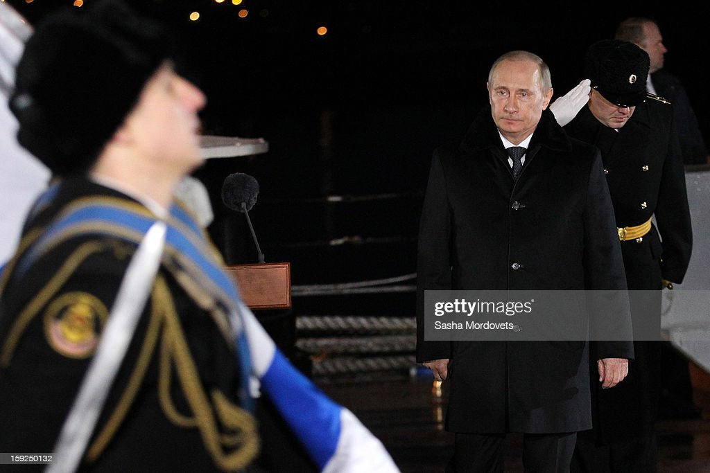 Russian President <a gi-track='captionPersonalityLinkClicked' href=/galleries/search?phrase=Vladimir+Putin&family=editorial&specificpeople=154896 ng-click='$event.stopPropagation()'>Vladimir Putin</a> visits the heavy nuclear-powered missile cruiser Pyotr Veliky at the Russian Northern Fleet's base January 10, 2013 in Severomorsk, Russia. Putin awarded the crew of the Pyotr Veliky the Nakhimov order.