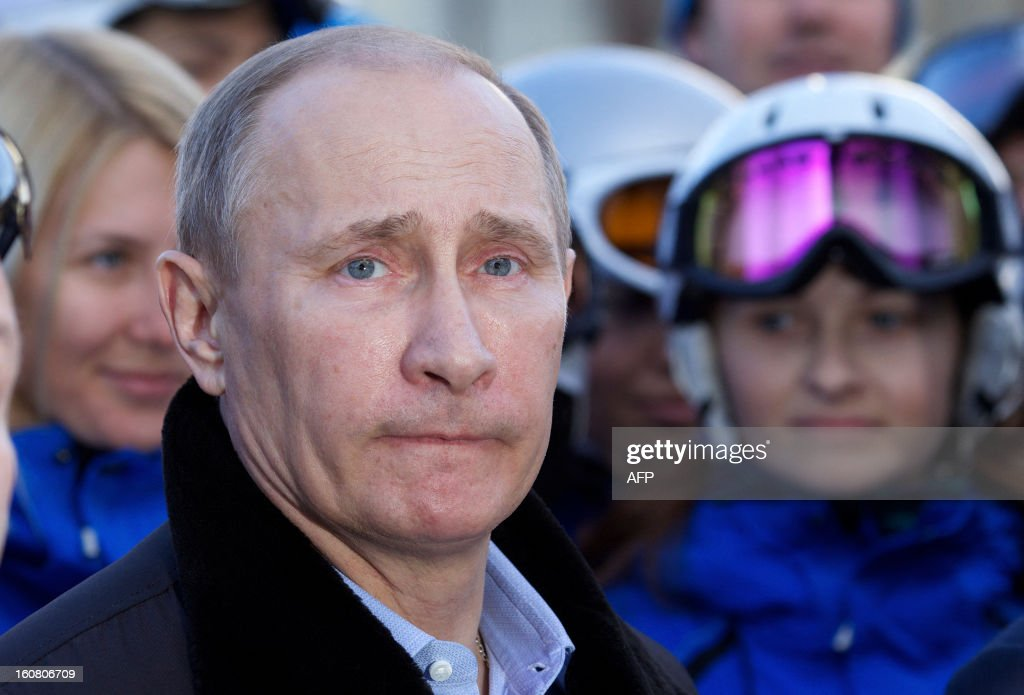 Russian President Vladimir Putin visits the Rosa Khutor Alpine Centre, one of the Sochi 2014 Winter Olympic venues, near the Black Sea city of Sochi, on February 6, 2013.