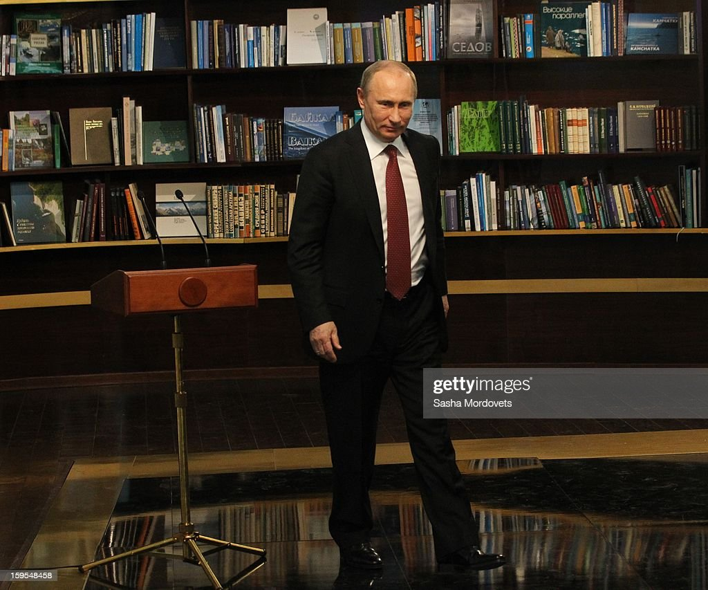 Russian President <a gi-track='captionPersonalityLinkClicked' href=/galleries/search?phrase=Vladimir+Putin&family=editorial&specificpeople=154896 ng-click='$event.stopPropagation()'>Vladimir Putin</a> walks away after giving a speech during the opening of the Russia Geographical Society new headquarters on January 15, 2013 in Moscow, Russia. President <a gi-track='captionPersonalityLinkClicked' href=/galleries/search?phrase=Vladimir+Putin&family=editorial&specificpeople=154896 ng-click='$event.stopPropagation()'>Vladimir Putin</a> also took part in the ceremony on Tuesday.