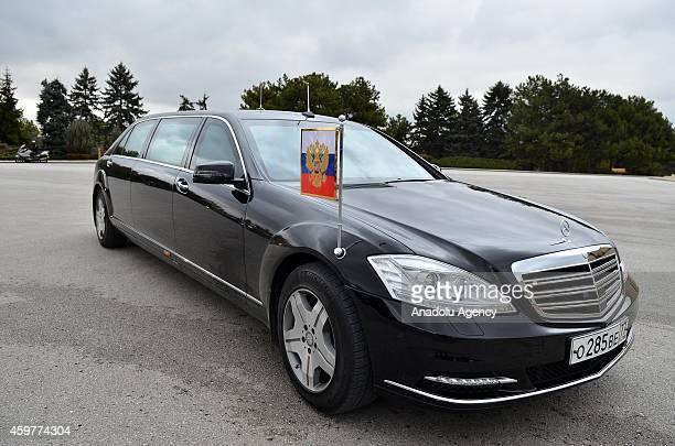 Russian President Vladimir Putin's armored official car is seen during Putin's visit at Anitkabir the mausoleum of Turkey's founder Mustafa Kemal...