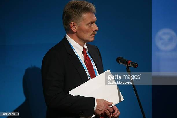 Russian President Vladimir Putin's Press Secretary Dmitry Peskov seen during a press conference at the Shanghai Cooperation Organisation Summit on...