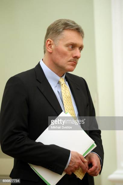 Russian President Vladimir Putin's Spokesman Dmitry Peskov attends the meetingw with President of Sri Lanka Maithripala Sirisena at the Kremlin in...