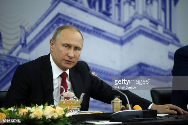 Russian President Vladmir Putin speeches during the reception for foreign businessmen at the Saint Petersburg International Economic Forum SPIEF'...