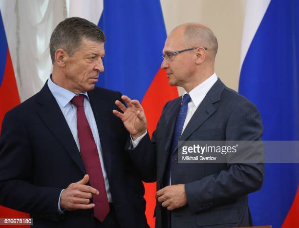 Russian Presidential Administration's First Deuty Chief of Staff Sergey Kiriyenko talks to Deputy Prime Minister Dmitry Kozak during the Presidential...