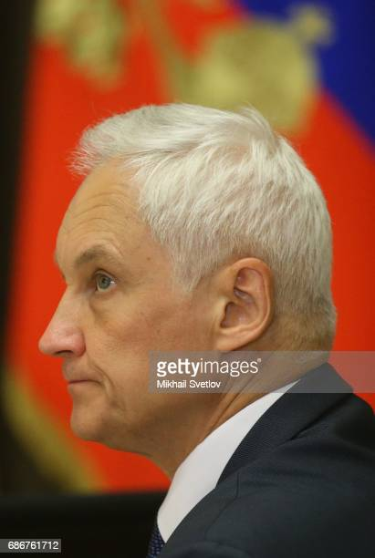 Russian Presidential Aide Andrei Belousov attends the meeting with top managers of space industry sector on May 22 2017 in Sochi Russia The number of...