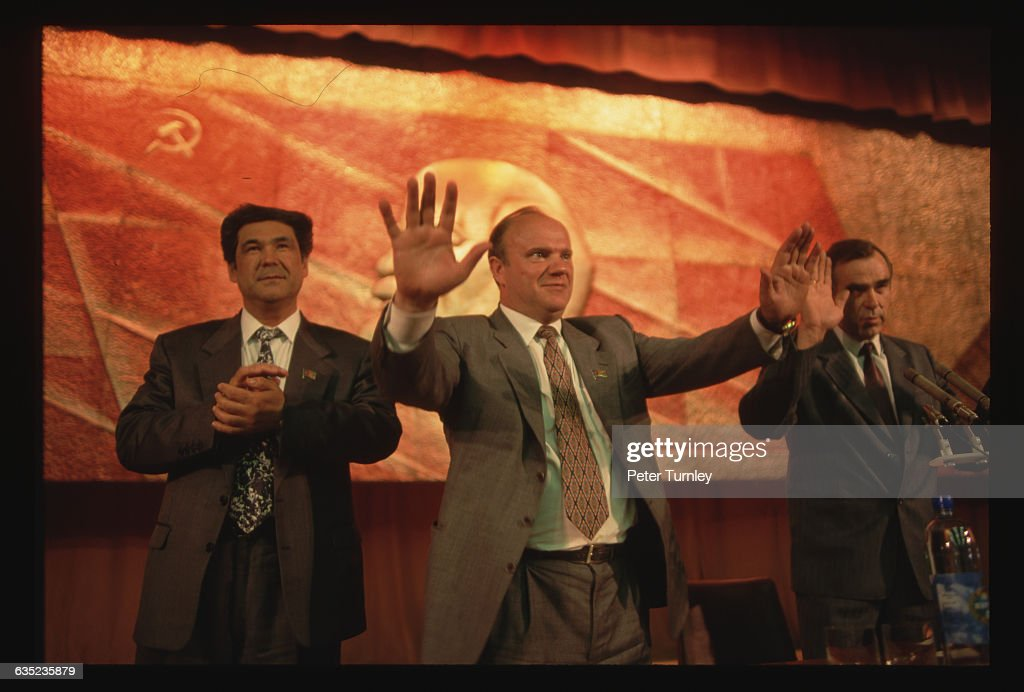 Russian presidential candidate <a gi-track='captionPersonalityLinkClicked' href=/galleries/search?phrase=Gennady+Zyuganov&family=editorial&specificpeople=213936 ng-click='$event.stopPropagation()'>Gennady Zyuganov</a> (center) campaigns in Yekaterinburg in May 1996.