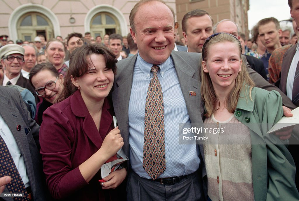 Russian presidential candidate <a gi-track='captionPersonalityLinkClicked' href=/galleries/search?phrase=Gennady+Zyuganov&family=editorial&specificpeople=213936 ng-click='$event.stopPropagation()'>Gennady Zyuganov</a> campaigns in Kirov in May 1996.