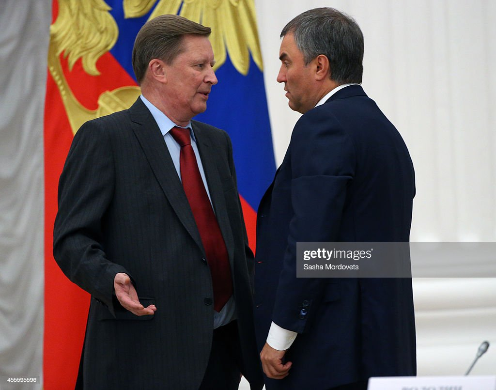Russian Presidential Chief of Staff Sergei Ivanov and First Deputy Chief of Staff Vyacheslav Volodin seen during a meeting with newly elected...