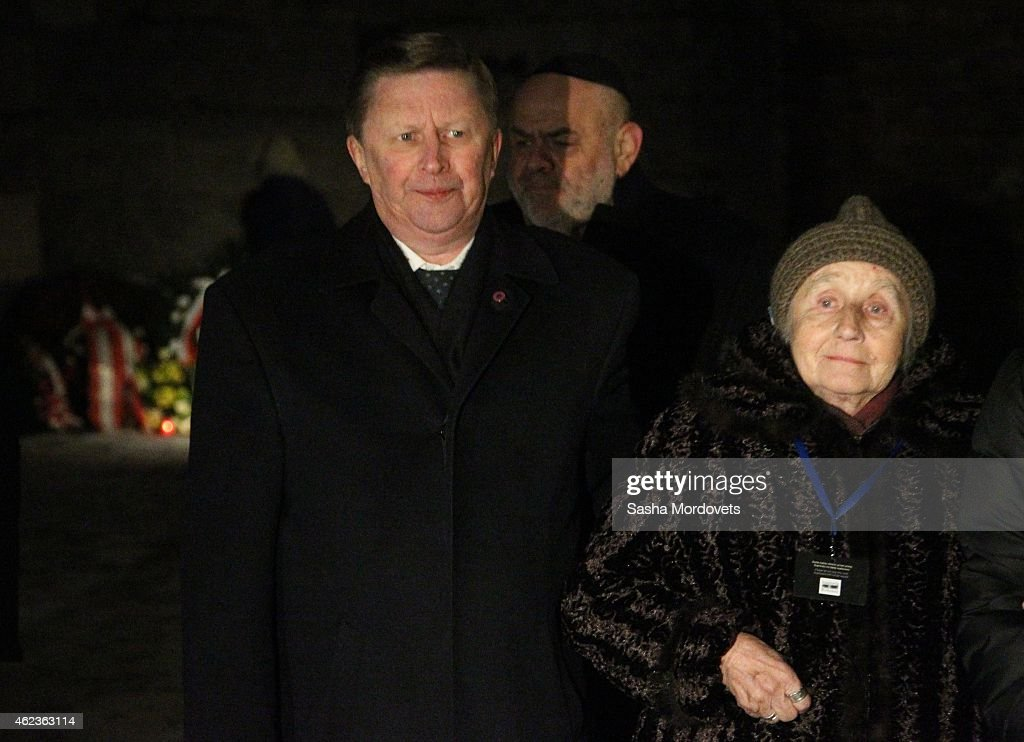 Russian Presidential Chief of Staff Sergei Ivanov arrives at the Auschwitz Memorial Museum January 27 2015 in Oswiecim Poland Ivanov is in Poland to...