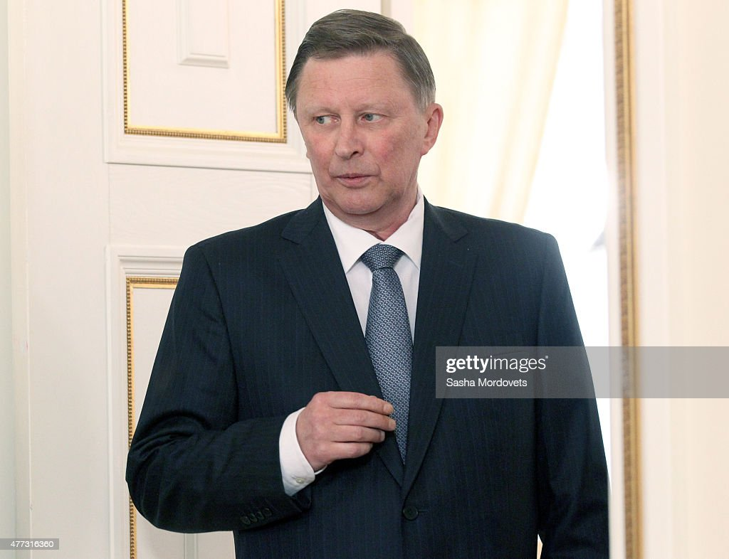Russian Presidential Chief of Staff Sergei Ivanov attends a meeting with Russian President Vladimir Putin and Finnish President Sauli Niinisto at the Novo-Ogaryovo State Residence June 16, 2015 outside of Moscow, Russia.. Presideny of Finland is having a one day visit in Russia to talk on Ukraine's crisis.