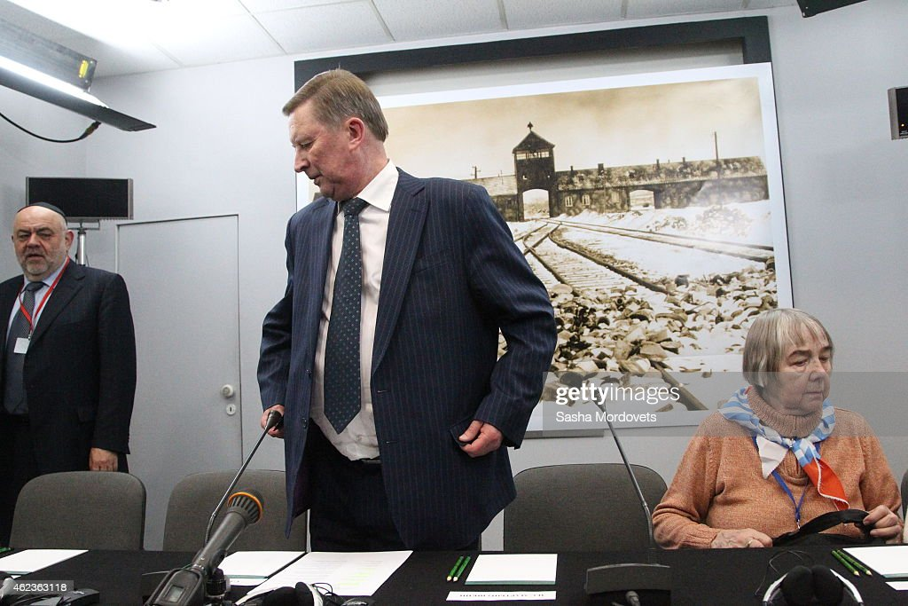 Russian Presidential Chief of Staff Sergei Ivanov holds a press comference at the Auschwitz Memorial Museum January 27 2015 in Oswiecim Poland Ivanov...