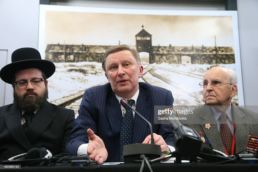 Russian Presidential Chief of Staff Sergei Ivanov speaks at the Auschwitz Memorial Museum January 27 2015 in Oswiecim Poland Ivanov is in Poland to...