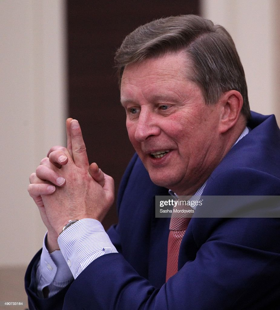 Russian Presidential Chief of Staff Sergei Ivanov speeches during a weekly meeting with ministers of Russian Government in NovoOgaryovo State...
