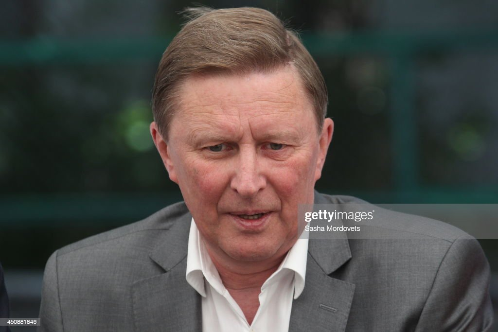 Russian Presidential Chief of Staff Sergei Ivanov speeches in the refugee camp on June 19 2014 in Primorka villiage 60 km West of RostovonDon Russia...