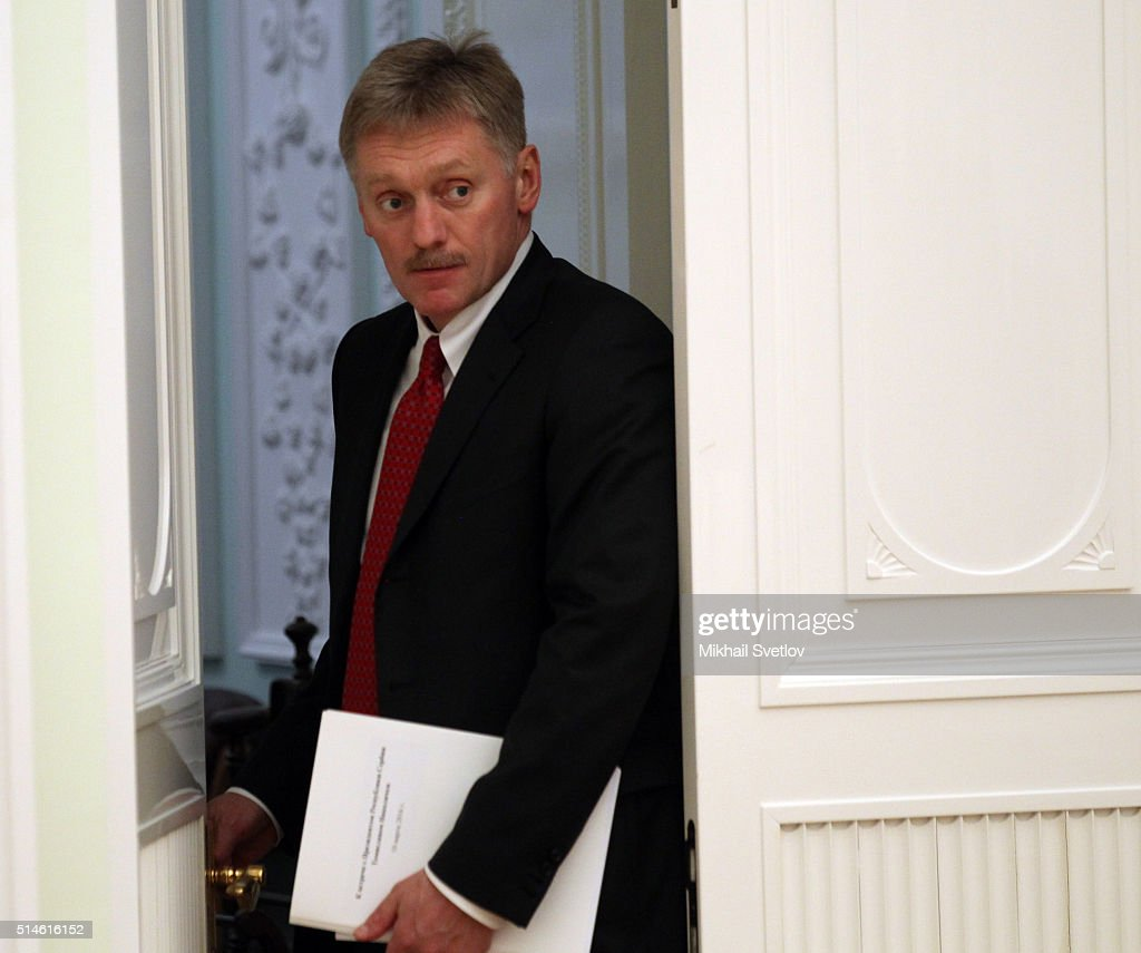 Russian Presidential Press Secretary Dmitry Peskov attends a meeting with Serbian President Tomislav Nikolic (not pictured) on March 10, 2016 in Moscow, Russia. Nikolic is having a two-days visit to Russia.