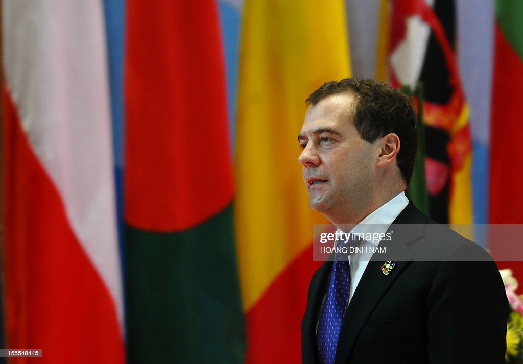 Russian Prime Minister Dmitri Medvedev arrives to attend the opening of the ninth Asia-Europe (ASEM 9) summit in Vientiane on November 5, 2012. Dozens of European and Asian leaders will gather in impoverished Laos on November 5 for a major summit set to be dominated by the eurozone debt crisis and growing territorial tensions in the region.