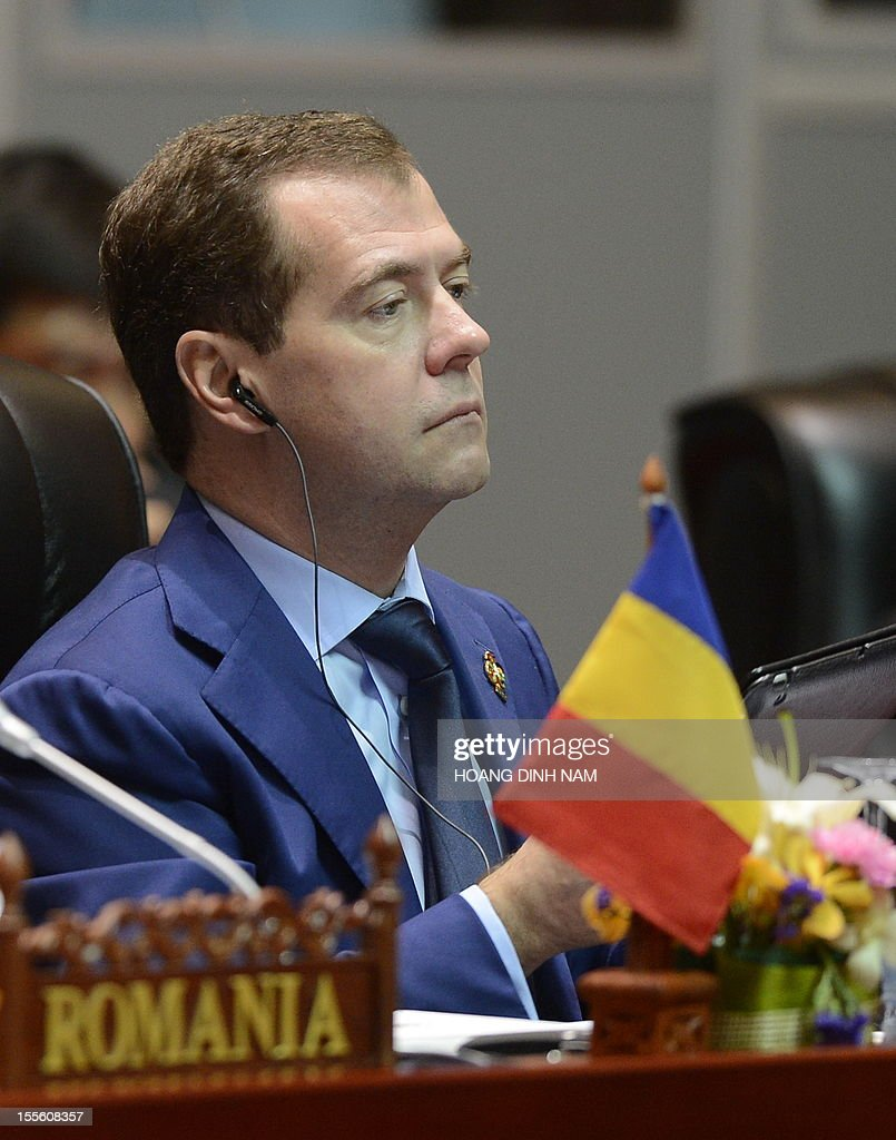 Russian Prime Minister Dmitri Medvedev attends a plenery session of the 9th summit Asia-Europe (ASEM 9) held in Vientiane on November 6, 2012. The two-day bi-annual summit began in the capital of the Southeast Asian landlock communist nation. AFP PHOTO/HOANG DINH Nam