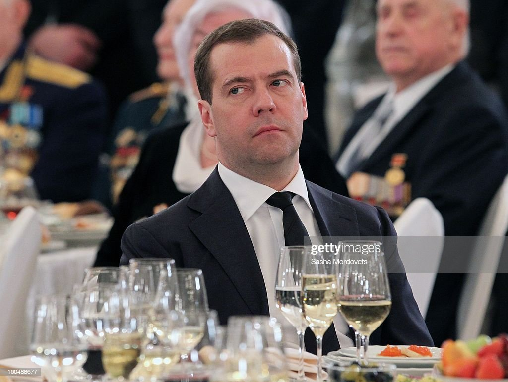 Russian Prime Minister Dmitry Medvedev attends a meeting with veterans of the Battle of Stalingrad in the Grand Kremlin Palace February,1,2013 in Moscow, Russia. The meeting comes ahead of Putin's visit to Stalingrad tomorrow for a military parade commemorating the battle that proved pivotal in World War II.