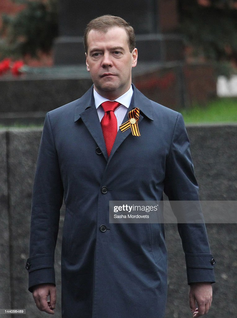 Russian Prime Minister Dmitry Medvedev attends attends the Victory Day Parade at Red Square on May 9, 2012 in Moscow, Russia. Over 14,000 servicemen took part in the annual military parade to mark the 67th anniversary of the defeat of Nazi Germany by the Russians during World War II, which was attended by newly inaugurated President Vladimir Putin and new Prime Minister Dmitry Medvedev.
