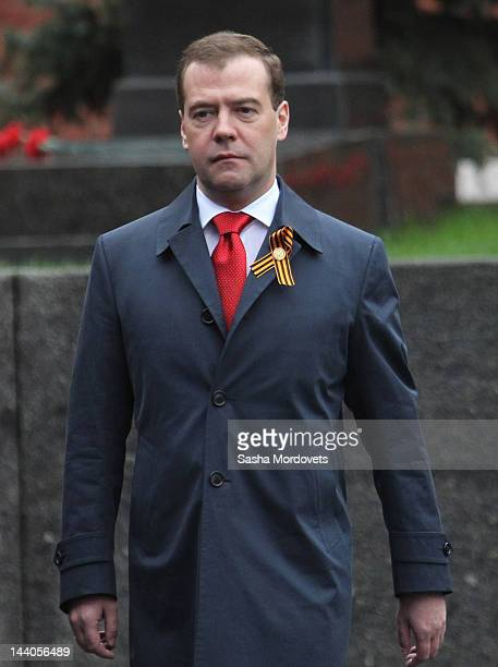 Russian Prime Minister Dmitry Medvedev attends attends the Victory Day Parade at Red Square on May 9 2012 in Moscow Russia Over 14000 servicemen took...