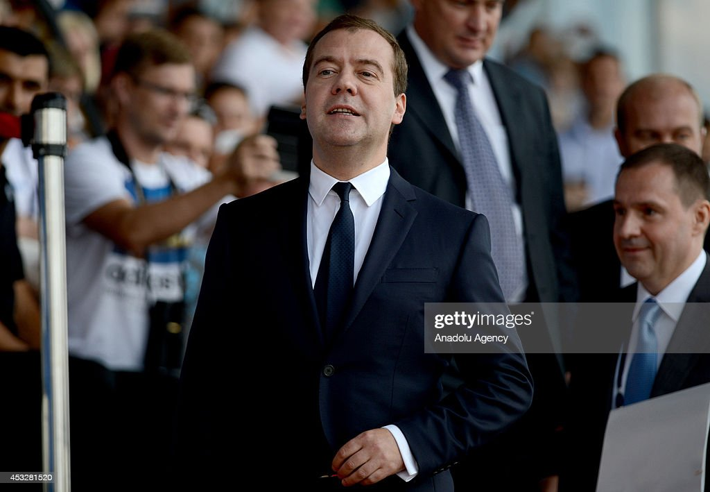 Russian Prime Minister Dmitry Medvedev attends opening ceremony of Canoe Sprint World Championships 2014 in Moscow, Russia on August 6, 2014.
