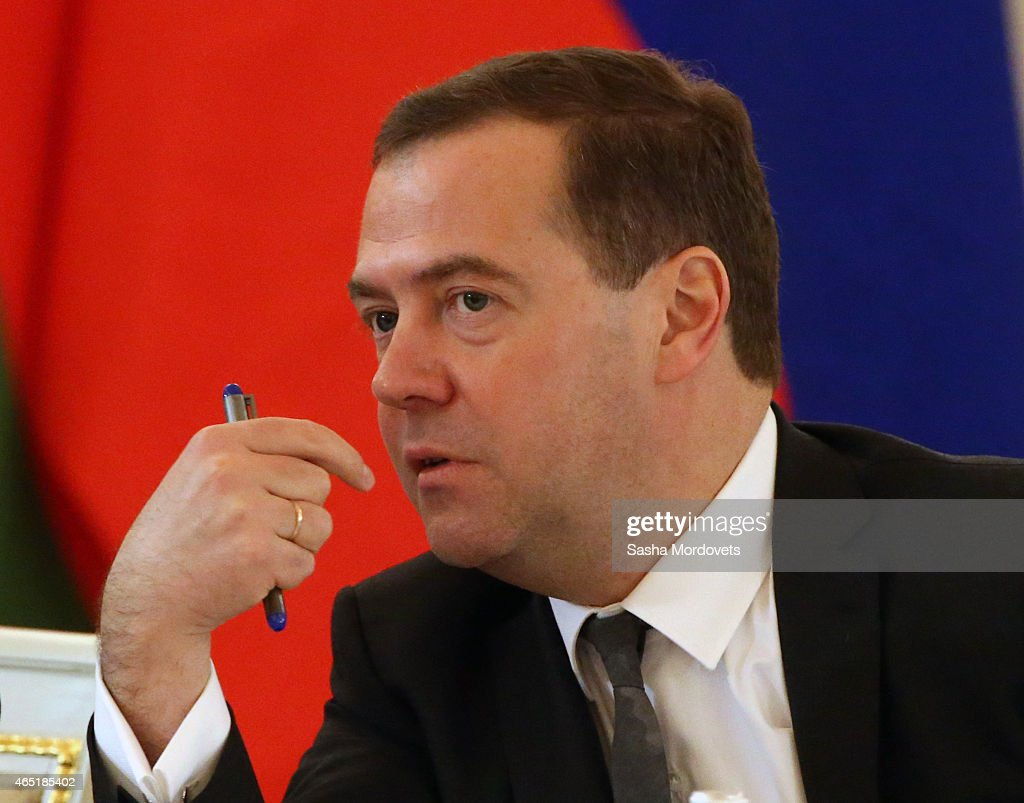 Russian Prime Minister Dmitry Medvedev attends Russian-Belarussian talks in the Grand Kremlin Palace March 3, 2015 in Moscow, Russia. Belarussian President Alexander Lukashenko is in Moscow to participate in the Russian-Belarussian Supreme State Council.