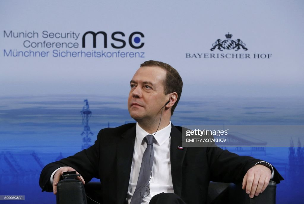 Russian Prime Minister Dmitry Medvedev attends the 52nd Security Conference in Munich, southern Germany, on February 13, 2016. / AFP / SPUTNIK / DMITRY ASTAKHOV