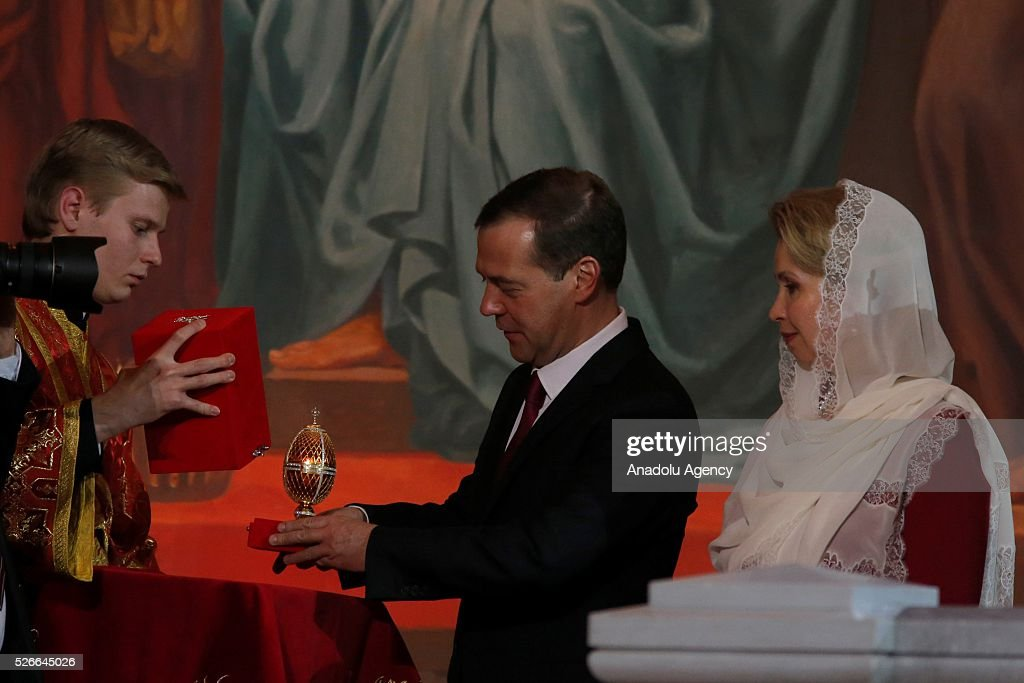 Russian Prime Minister Dmitry Medvedev attends the Easter service led by Patriarch Kirill of Russia in Christ the Savior Cathedral in Moscow on April 30, 2016.