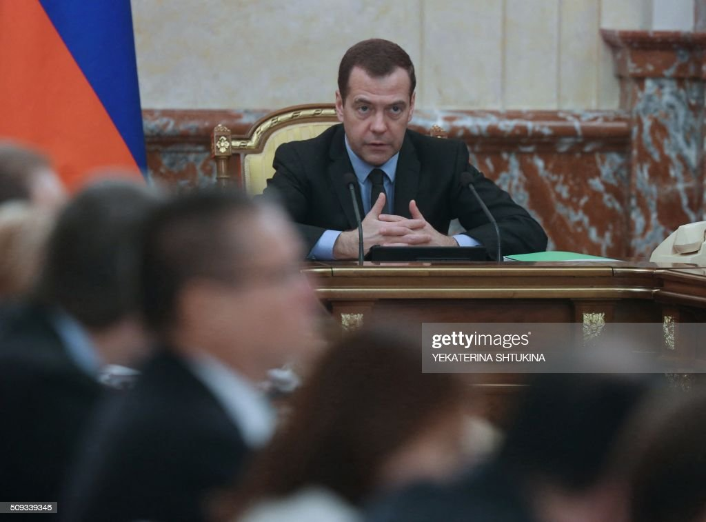 Russian Prime Minister Dmitry Medvedev chairs a meeting with ministers and top officials on social and economic policy in Moscow, on February 10, 2016. Russia may not have enough money to implement planned anti-crisis measures, Prime Minister Dmitry Medvedev warned on February 10, asking ministers to make revisions. AFP PHOTO / SPUTNIK / YEKATERINA SHTUKINA / AFP / Sputnik / YEKATERINA SHTUKINA