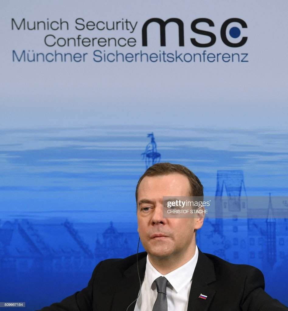 Russian Prime Minister Dmitry Medvedev follows a speech during the second day of the 52nd Munich Security Conference (MSC) in Munich, southern Germany, on February 13, 2016. / AFP / Christof STACHE