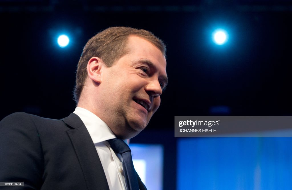 Russian Prime Minister Dmitry Medvedev laughs after his speech during a session of the World Economic Forum Annual Meeting 2013 on January 23, 2013 at the Swiss resort of Davos. The world's political and business elite kicked off their annual Davos meeting on Wednesday in a spirit of guarded optimism that the worst of the financial crisis might finally be over.