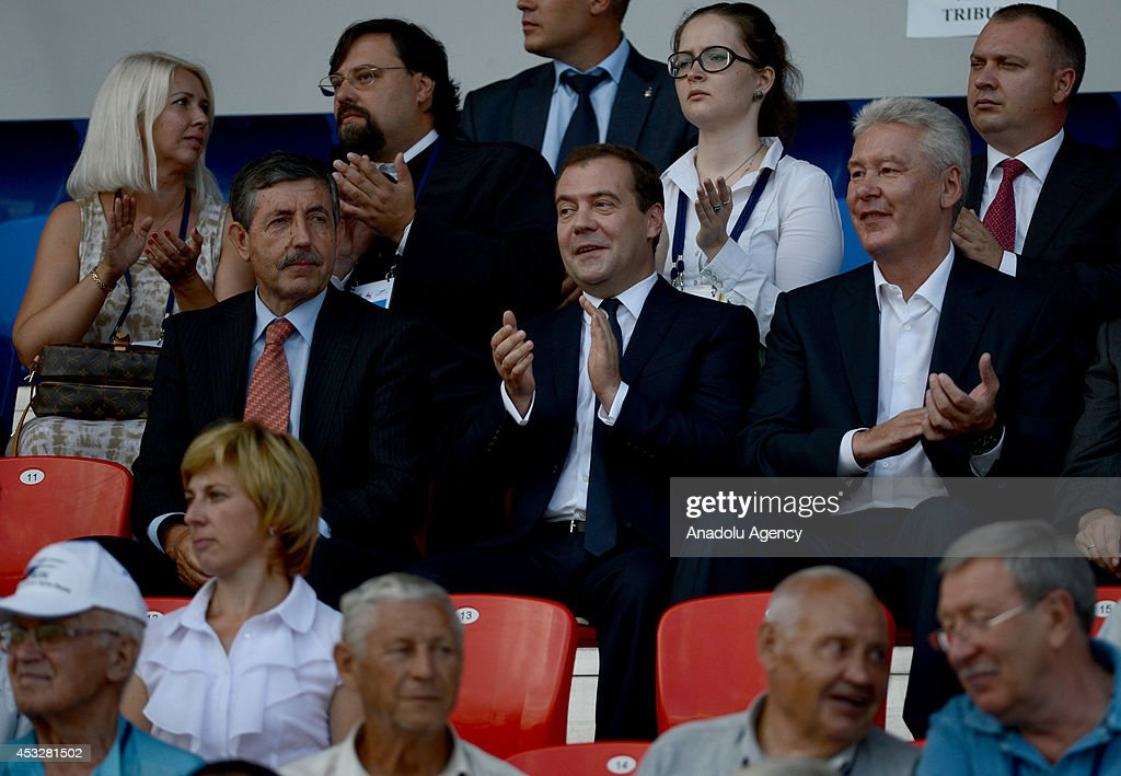 Russian Prime Minister Dmitry Medvedev (Second place, Center), Moscow Mayor Sergey Sobyanin (Second place, Right) and ICF President Jose Perurena (Second place, Left) attend the opening ceremony of Canoe Sprint World Championships (ICF) 2014 in Moscow, Russia on August 6, 2014.