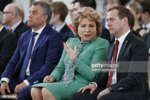 Russian Prime Minister Dmitry Medvedev Russian Federation Council speaker Valentina Matviyenko and Russian State Duma speaker Vyacheslav Volodin...