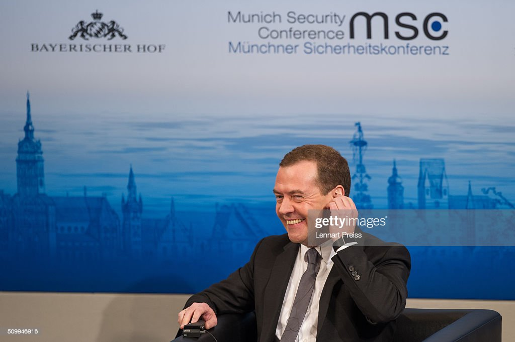 Russian Prime Minister <a gi-track='captionPersonalityLinkClicked' href=/galleries/search?phrase=Dmitry+Medvedev&family=editorial&specificpeople=554704 ng-click='$event.stopPropagation()'>Dmitry Medvedev</a> smiles at the 2016 Munich Security Conference at the Bayerischer Hof hotel on February 13, 2016 in Munich, Germany. The annual event brings together government representatives and security experts from across the globe and this year the conflict in Syria will be the main issue under discussion.