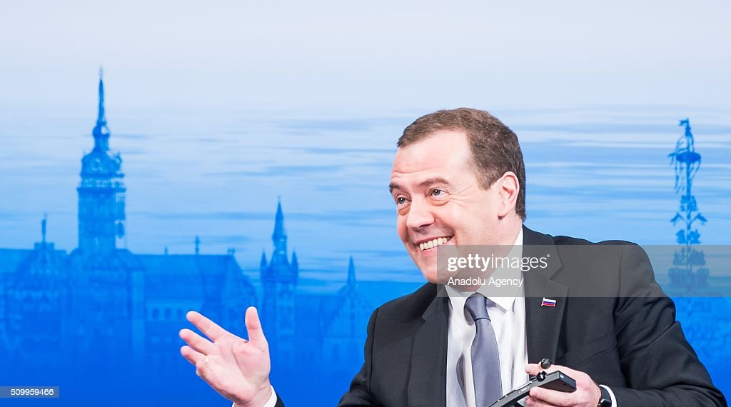 Russian Prime Minister Dmitry Medvedev smiles during the 2016 Munich Security Conference at the Bayerischer Hof hotel on February 13, 2016 in Munich, Germany. The annual event brings together government representatives and security experts from across the globe and this year the conflict in Syria will be the main issue under discussion.